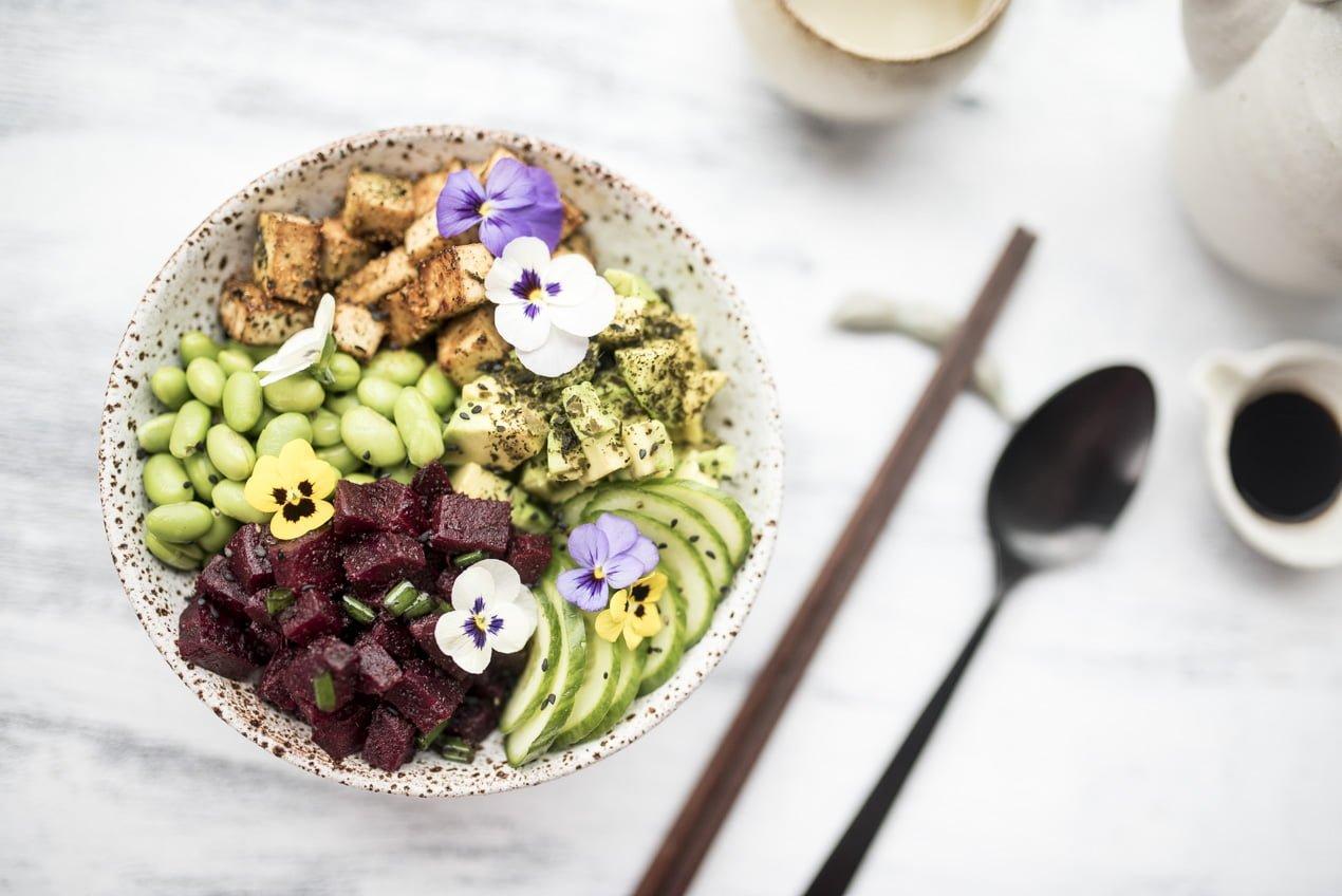 vegan poke bowl flatlay