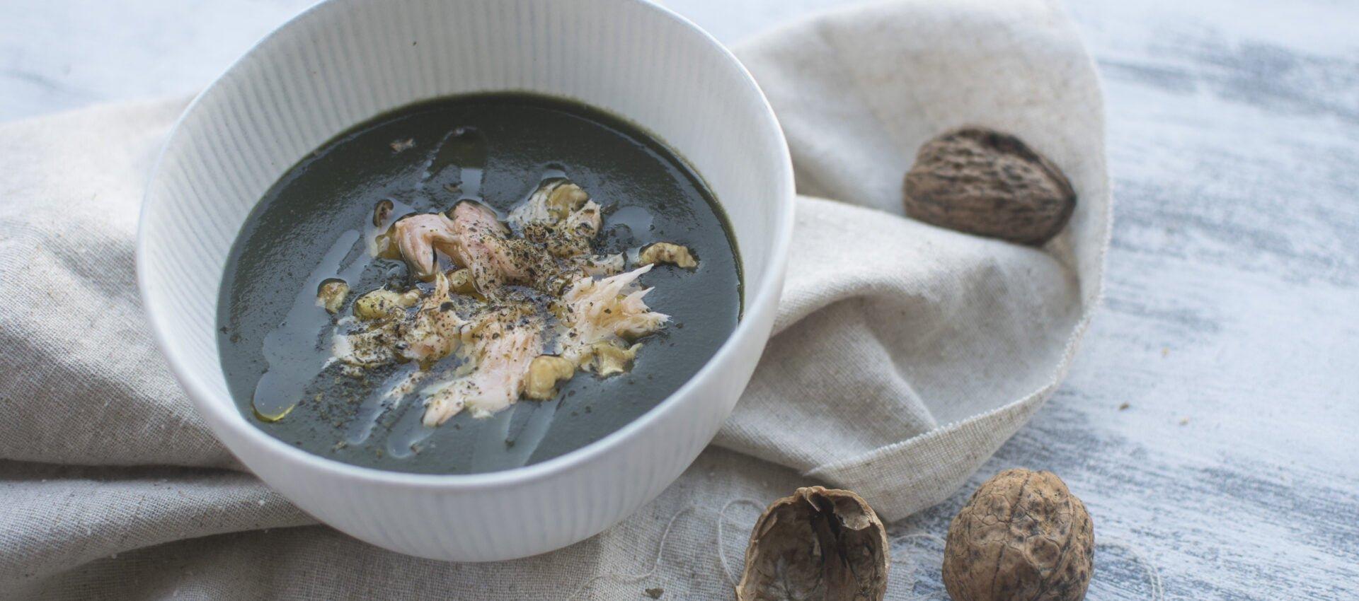 Creamy potato, kale and smoked trout soup