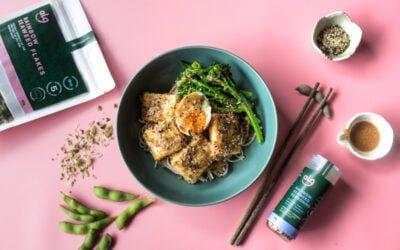 Soba Noodle Salad with Seaweed Panko Tofu