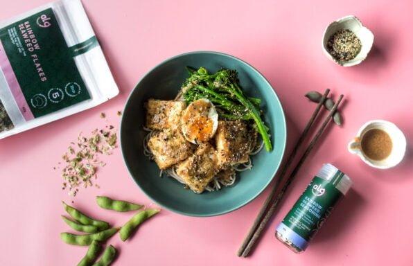 Flatlay tofu seaweed soba noodle with products