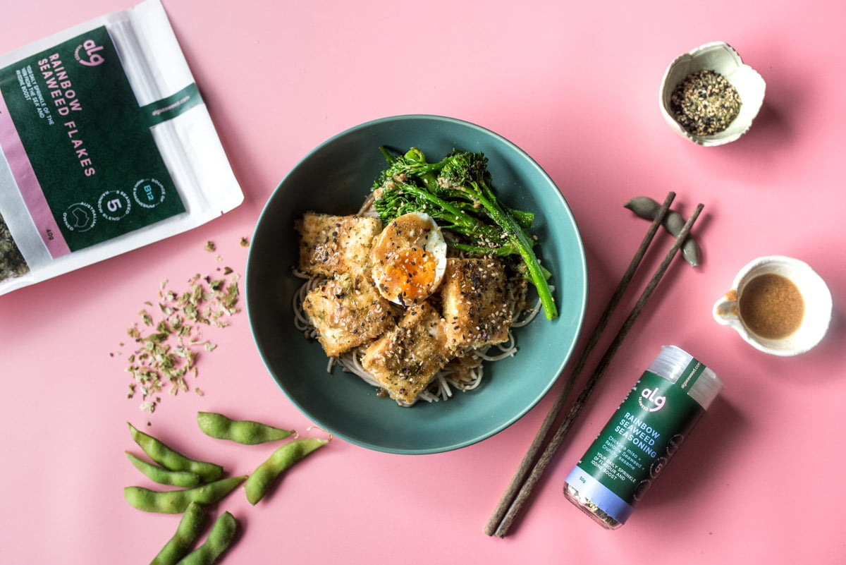 Flatlay tofu seaweed soba noodle with products