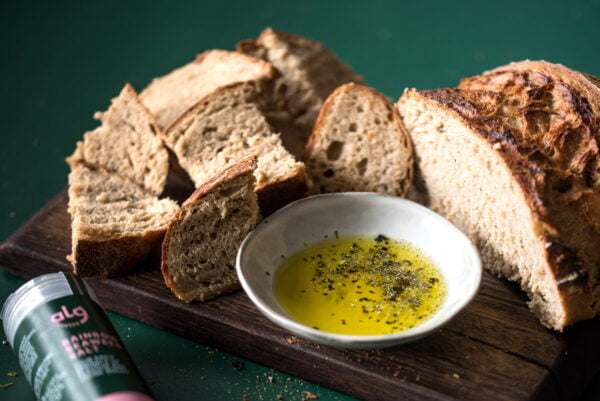 sourdough with seaweed salt on olive oil