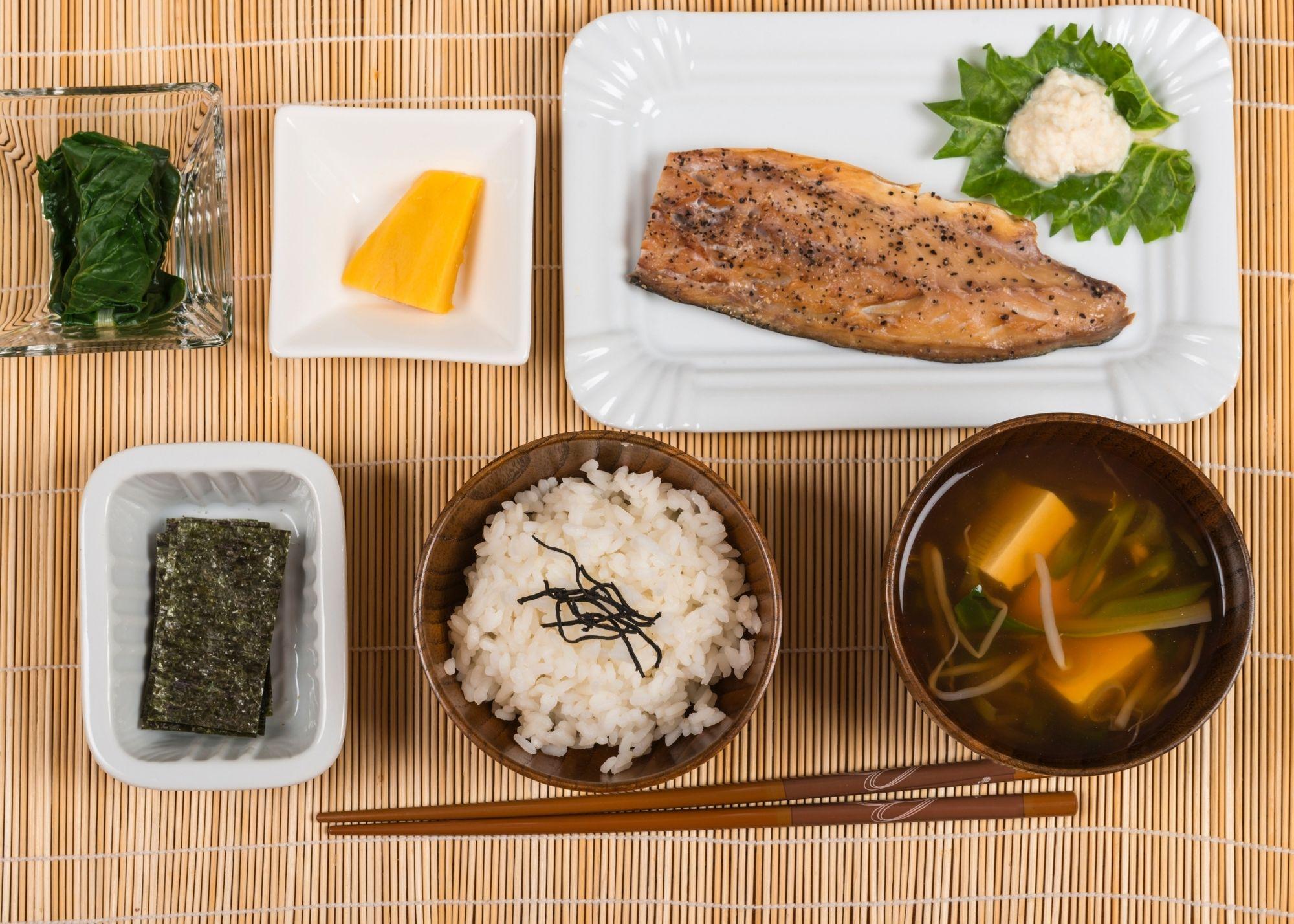 Japanese breakfast flatlay