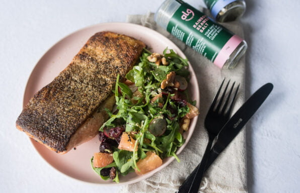 Crispy Salmon Skin with Seaweed Salt Flatlay