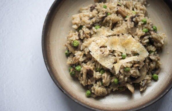 Seaweed Mushroom Risotto flatlay