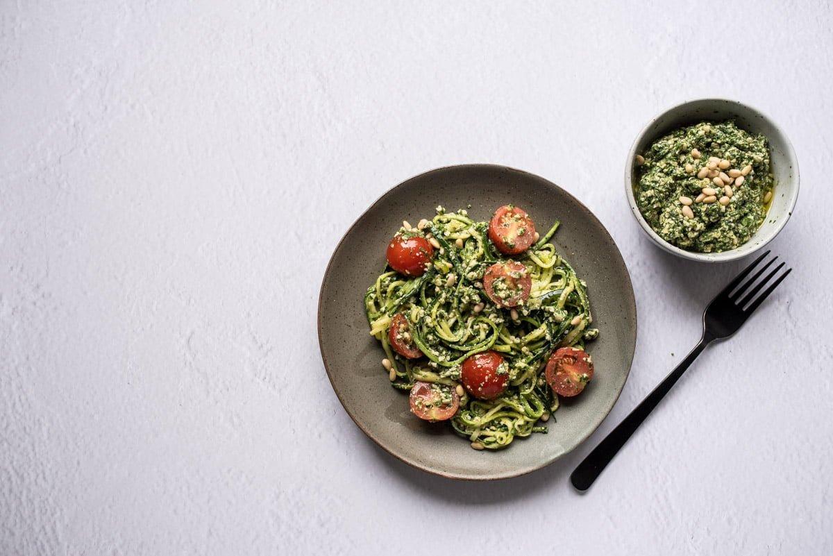 Seaweed pesto flat lay with zucchini noodle